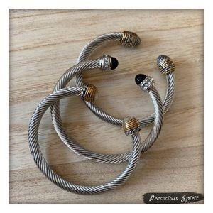 Set 3 two-tone silver gold cable gem cuff bracelet